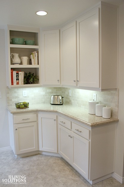 White Kitchen Cambria Counters Travertine honed backsplash