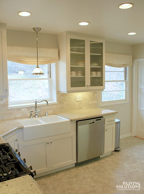 White Kitchen Farmhouse Sink Relaxed Roman Shade Valances