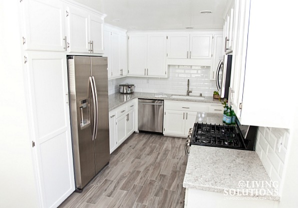 White Cabinets Stainless Steel Appliances White Subway Tile*