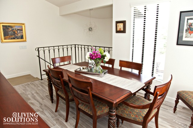 dining room wood tile plank floors