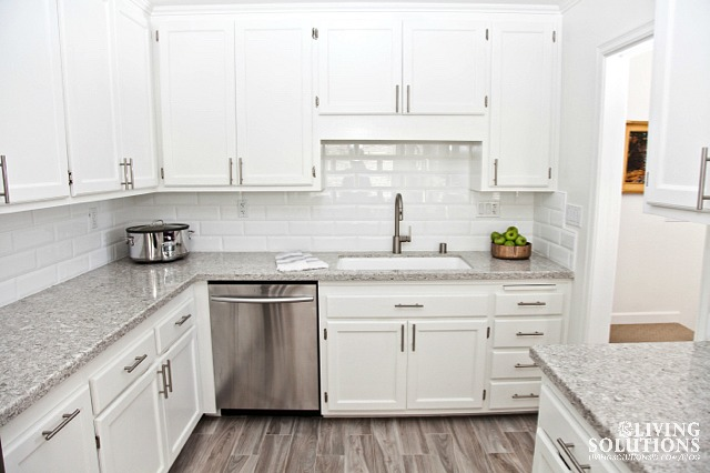 *white cabinets and white subway tile