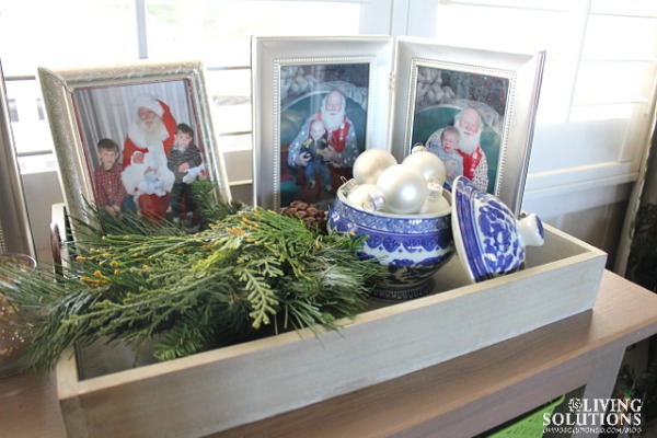ornaments and santa photos