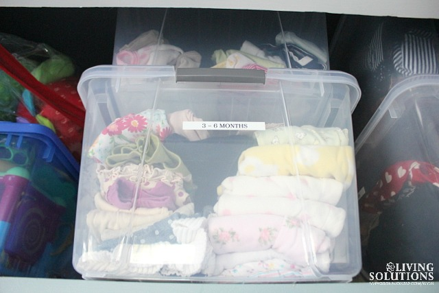 Organized Baby Clothes in Bins