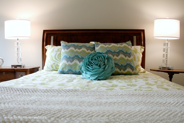 aqua green gray white bedding