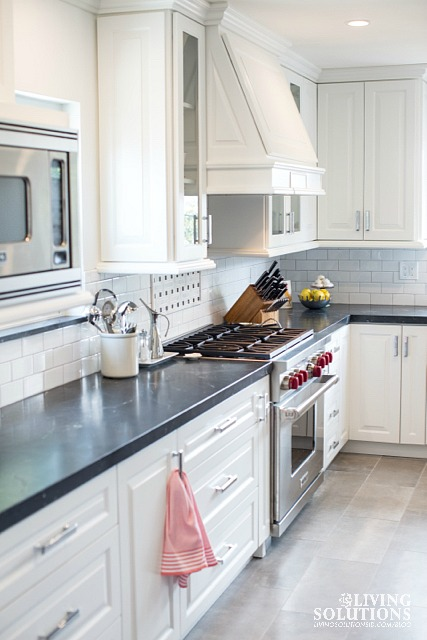 White cabinets stainless steel appliances