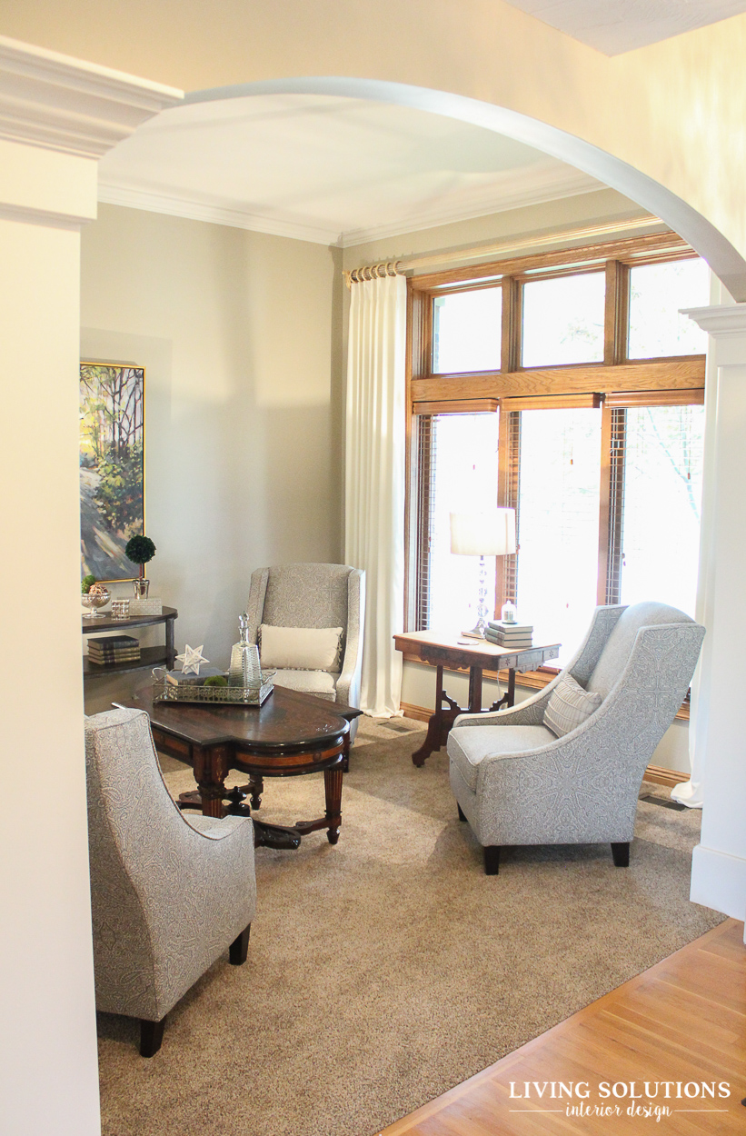 In The Sitting Room, We Kept The Wood Trim, But Painted Out The Crown  Molding To Brighten Up The Ceiling And Continue The Eye Upwards, Instead Of  Visually ...